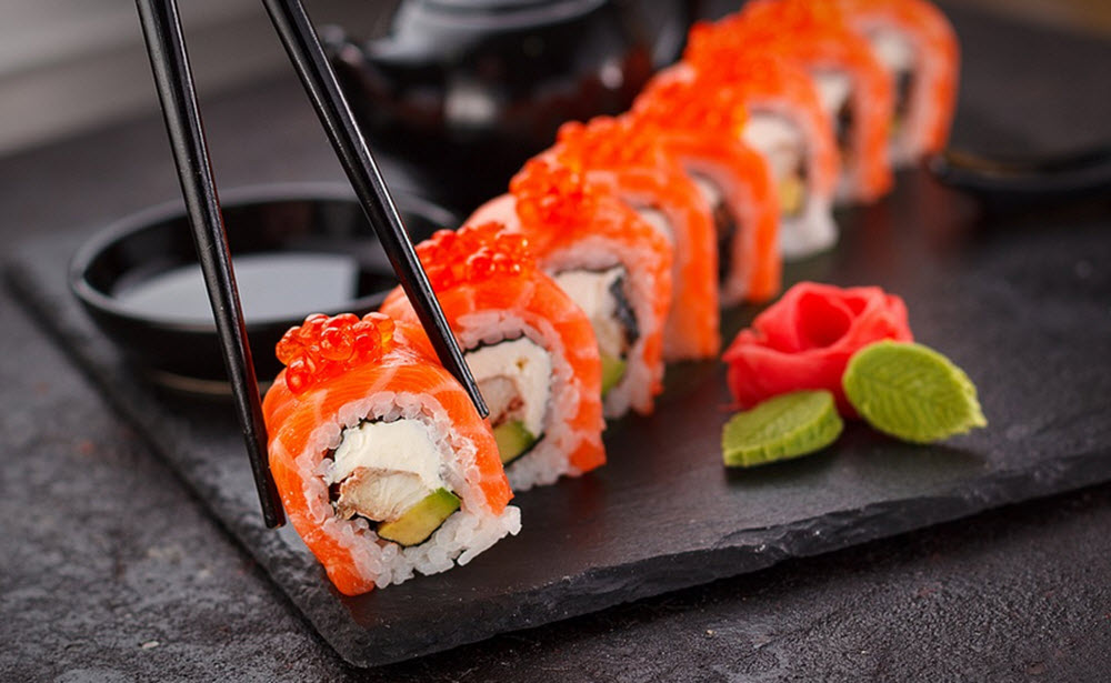 Sushi on stone